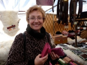 Gina on the sheepskin market stall, Sheep Street, Skipton (means sheep town)