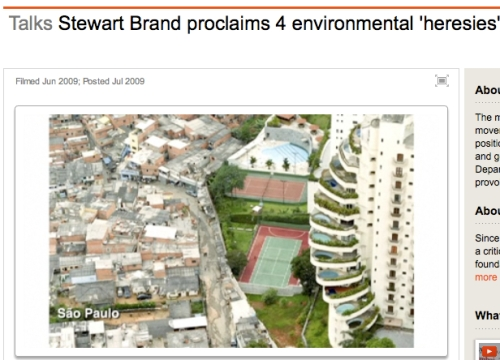 Slide from the presentation: slums conveniently next to the luxury condos. A very short walk to work for slum dwellers.