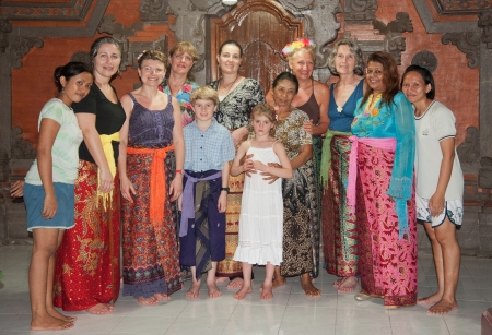 On our first evening together in Bali, we had dinner with a Balinese family, welcomed into their traditional home compound. We learned how to wear our ceremonial sarongs and watched the intricate work of making the daily offerings.