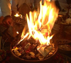 Our New Moon Fire Ceremony in Bali where our lists of intentions were released into the flames